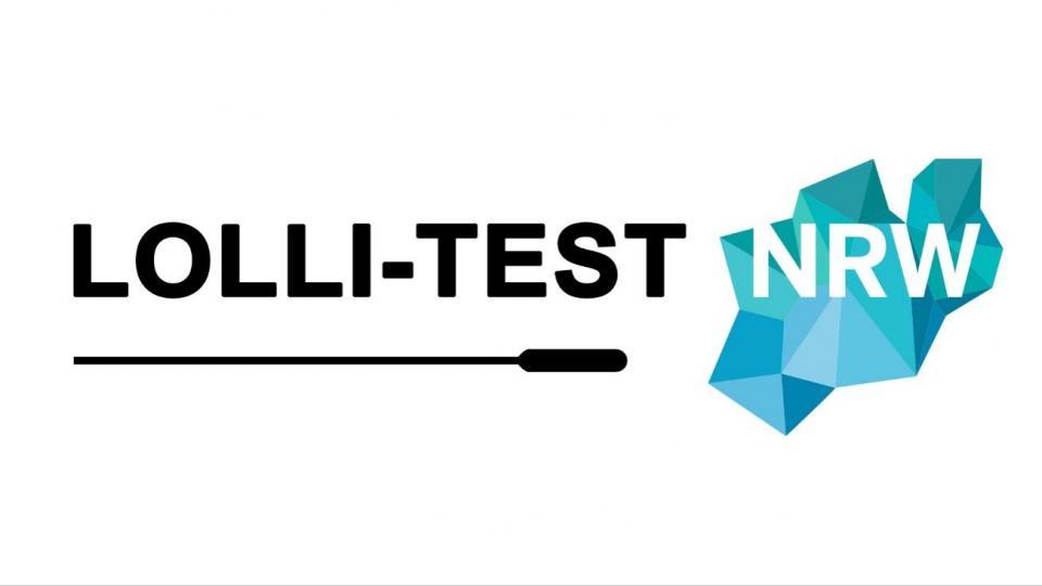 Schriftzug Logo Lolli-Test NRW, darunter grafische Darstellung eines Teststäbchens.
